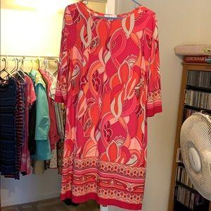 3/4 length sleeve. Pull on dress